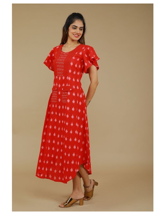 Ikat dress with embroidered yoke and petal sleeves: LD550-S-Red-4