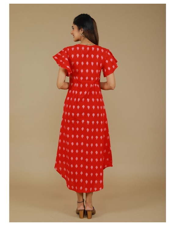 Ikat dress with embroidered yoke and petal sleeves: LD550-S-Red-5
