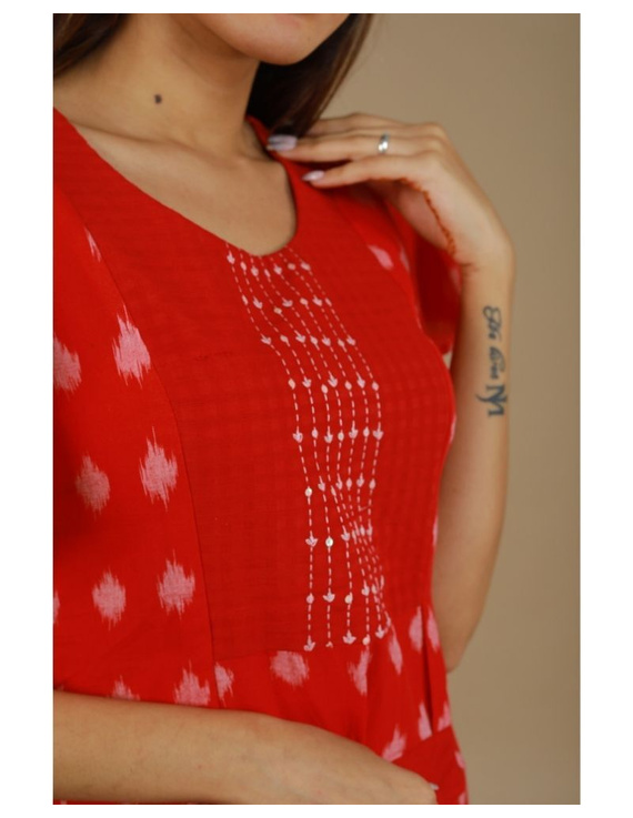 Ikat dress with embroidered yoke and petal sleeves: LD550-Red-XXL-2
