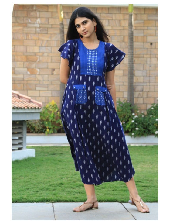 Ikat dress with embroidered yoke and petal sleeves: LD550-LD550Bl-M