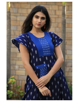 Ikat dress with embroidered yoke and petal sleeves: LD550-Blue-M-3-sm