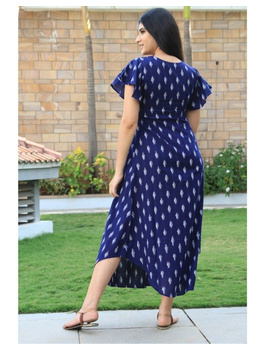 Ikat dress with embroidered yoke and petal sleeves: LD550-Blue-M-5-sm