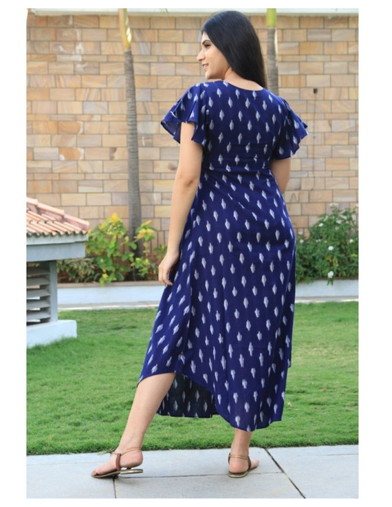 Ikat dress with embroidered yoke and petal sleeves: LD550-Blue-M-5