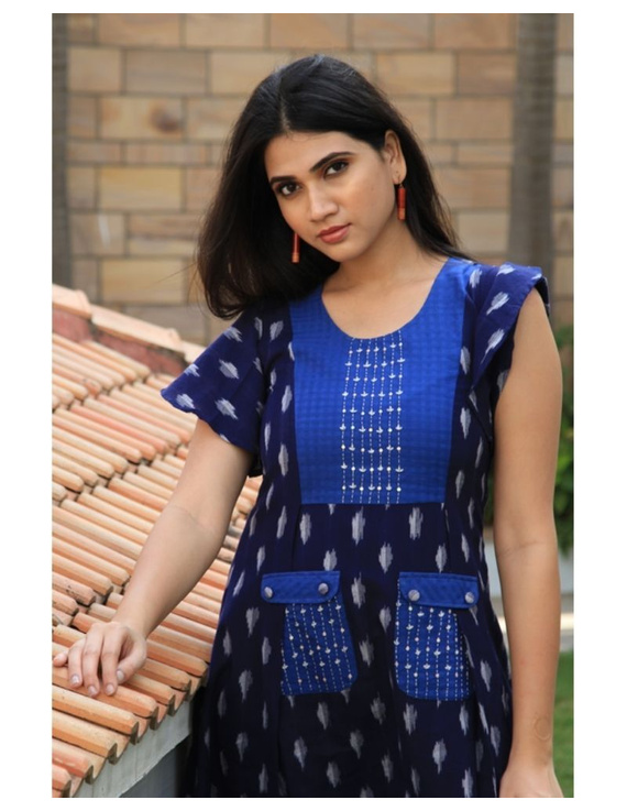 Ikat dress with embroidered yoke and petal sleeves: LD550-Blue-S-2