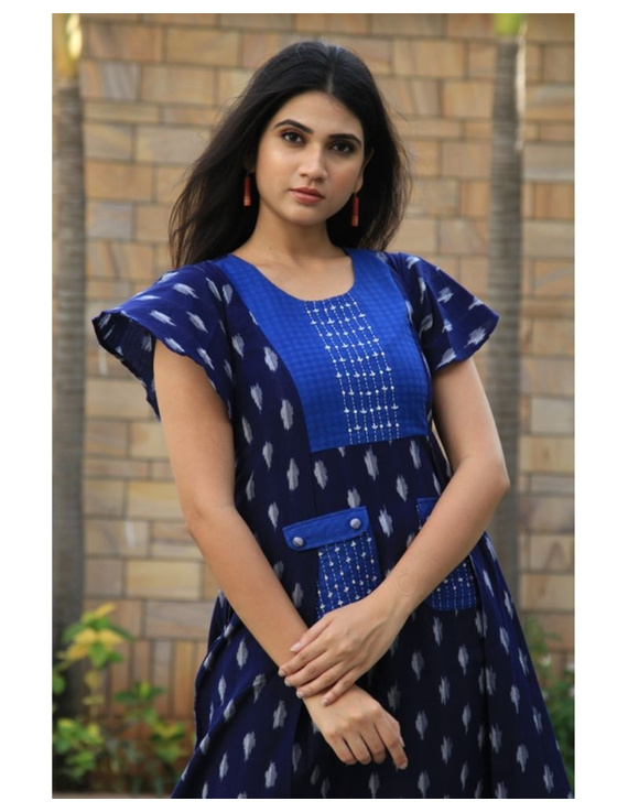 Ikat dress with embroidered yoke and petal sleeves: LD550-Blue-S-3