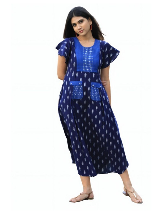 Ikat dress with embroidered yoke and petal sleeves: LD550-Blue-XL-4
