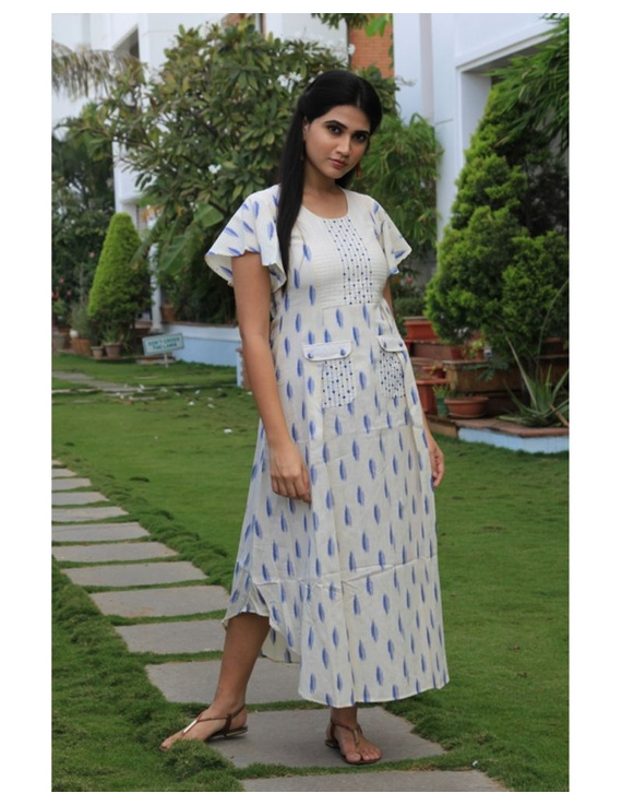 Ikat dress with embroidered yoke and petal sleeves: LD550-LD550Cl-S