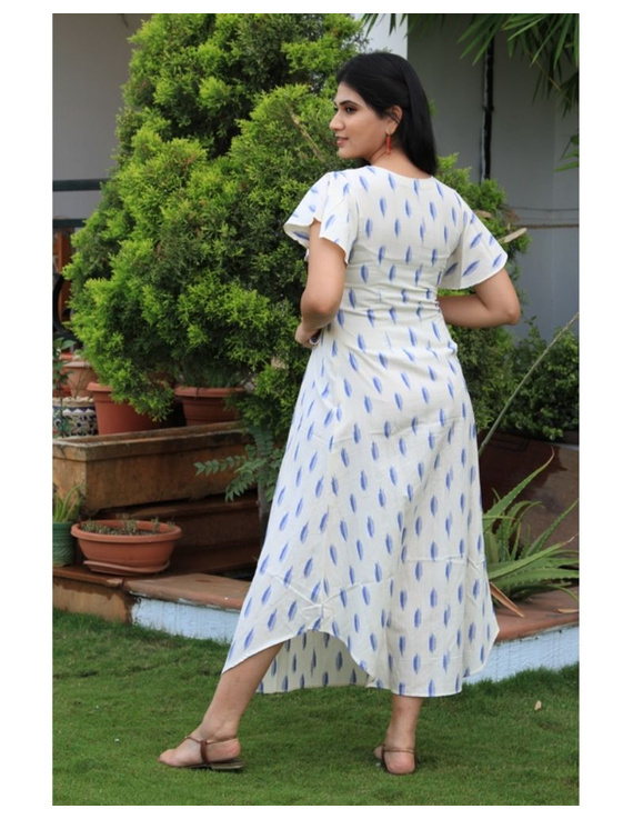 Ikat dress with embroidered yoke and petal sleeves: LD550-White-S-2