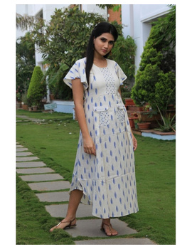 Ikat dress with embroidered yoke and petal sleeves: LD550-LD550Cl-XXL-sm
