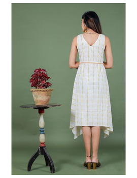 Sleeveless ikat dress with embroidered belt : LD640-White-L-2-sm