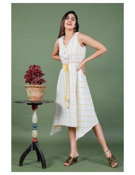 Sleeveless ikat dress with embroidered belt : LD640-LD640Al-M-sm