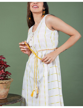 Sleeveless ikat dress with embroidered belt : LD640-White-M-4-sm