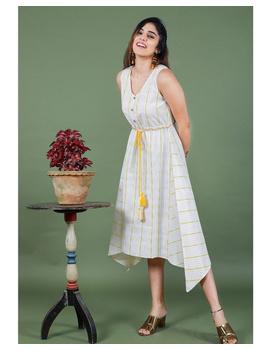 Sleeveless ikat dress with embroidered belt : LD640-White-M-7-sm