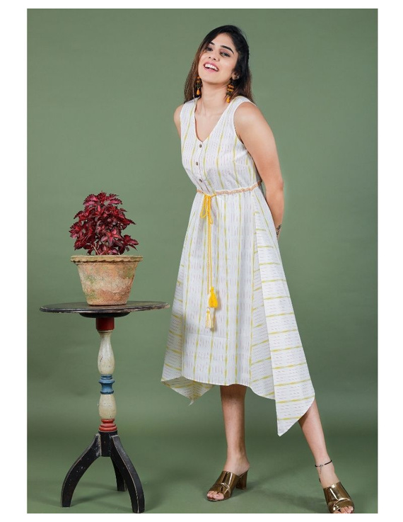 Sleeveless ikat dress with embroidered belt : LD640-White-M-7
