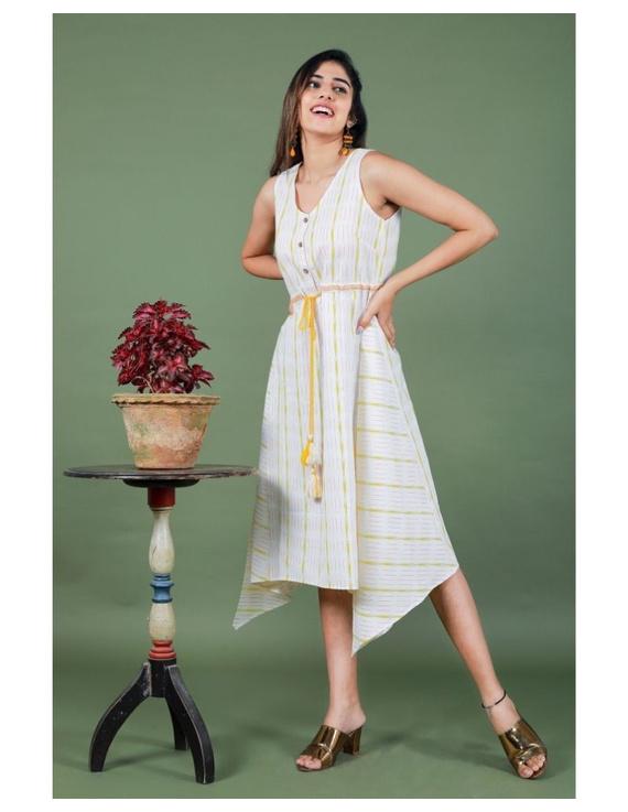 Sleeveless ikat dress with embroidered belt : LD640-LD640Al-S