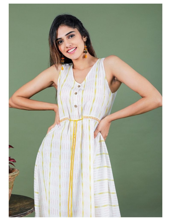 Sleeveless ikat dress with embroidered belt : LD640-S-White-1