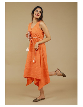 Sleeveless ikat dress with embroidered belt : LD640-Orange-L-4-sm