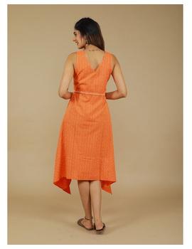 Sleeveless ikat dress with embroidered belt : LD640-Orange-M-3-sm