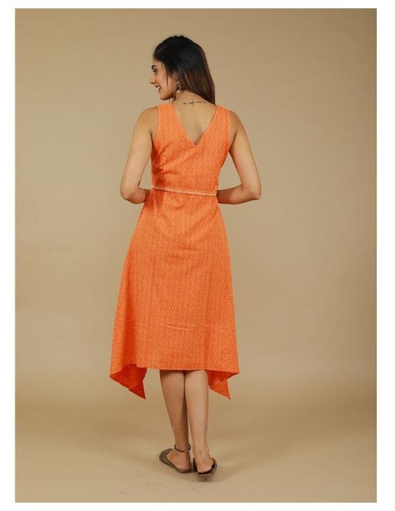 Sleeveless ikat dress with embroidered belt : LD640-Orange-M-3