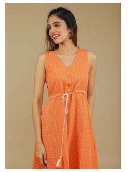 Sleeveless ikat dress with embroidered belt : LD640-LD640Bl-XL-sm