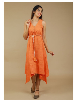 Sleeveless ikat dress with embroidered belt : LD640-Orange-XL-1-sm