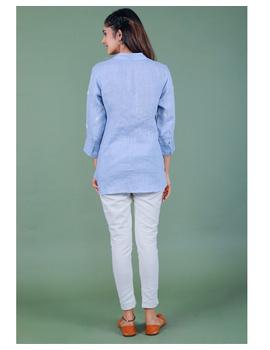 Pure linen box pleat tunic designed with shirt collar : LT120-L-Blue-1-sm