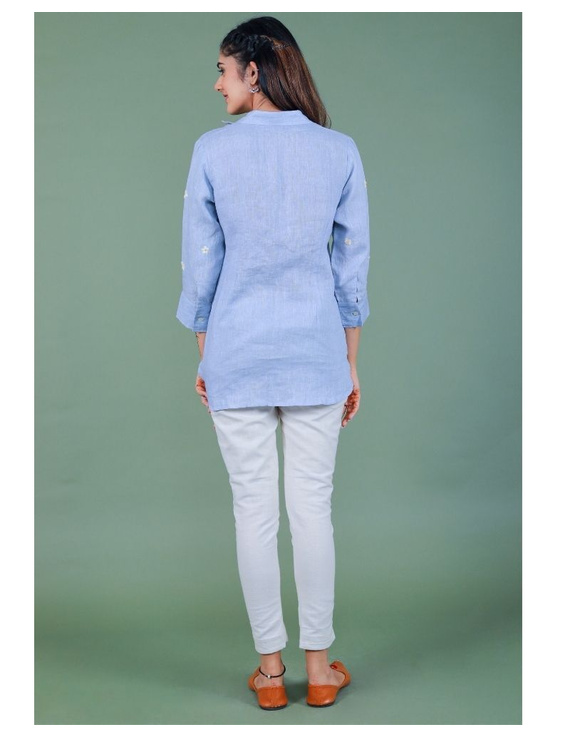 Pure linen box pleat tunic designed with shirt collar : LT120-L-Blue-1