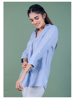 Pure linen box pleat tunic designed with shirt collar : LT120-L-Blue-2-sm