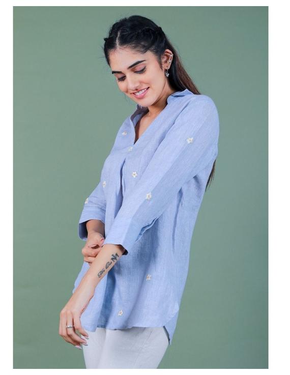 Pure linen box pleat tunic designed with shirt collar : LT120-L-Blue-2