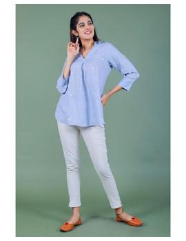 Pure linen box pleat tunic designed with shirt collar : LT120-L-Blue-6-sm