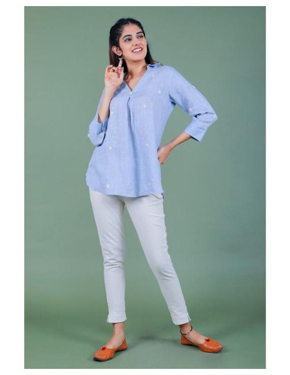 Pure linen box pleat tunic designed with shirt collar : LT120-L-Blue-6