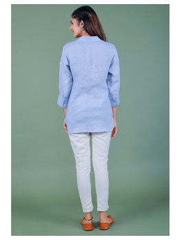 Pure linen box pleat tunic designed with shirt collar : LT120-M-Blue-1-sm