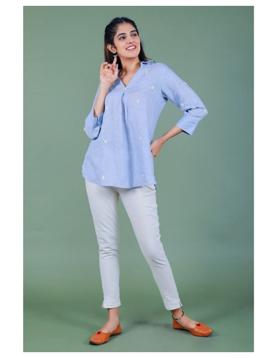 Pure linen box pleat tunic designed with shirt collar : LT120-M-Blue-6