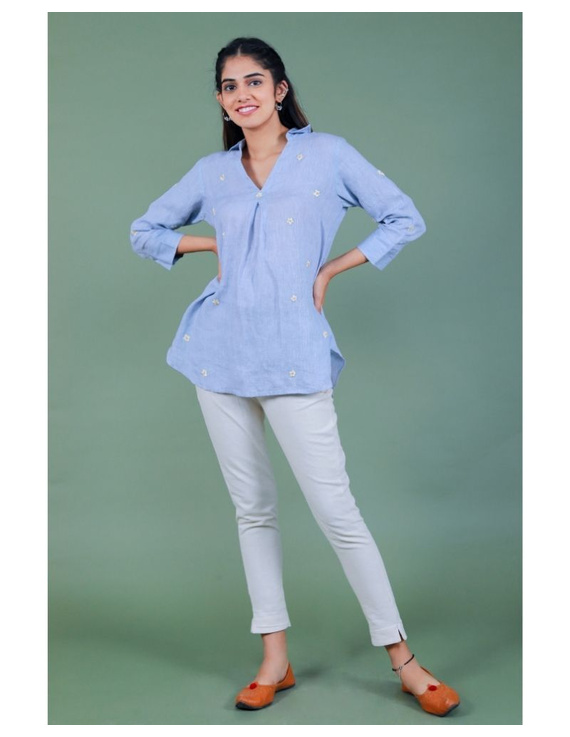 Pure linen box pleat tunic designed with shirt collar : LT120-S-Blue-1