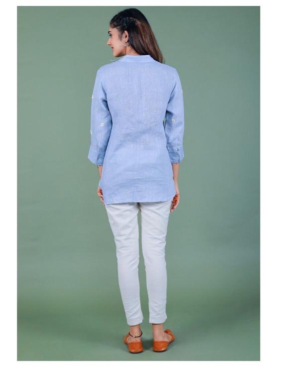 Pure linen box pleat tunic designed with shirt collar : LT120-S-Blue-2