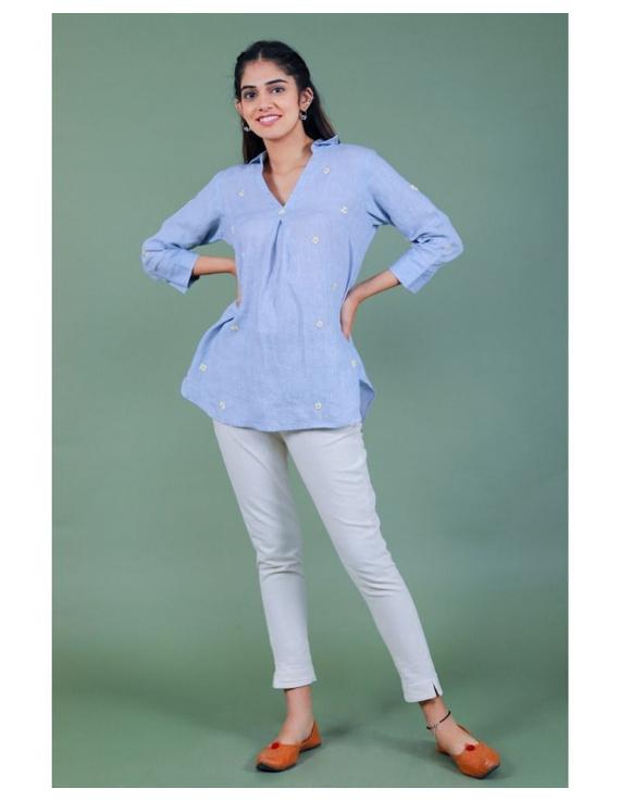Pure linen box pleat tunic designed with shirt collar : LT120-LT120Al-XL