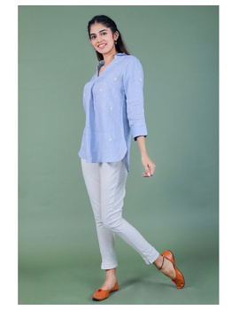 Pure linen box pleat tunic designed with shirt collar : LT120-XL-Blue-5-sm