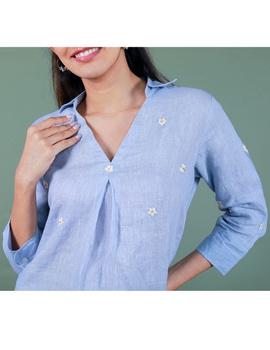 Pure linen box pleat tunic designed with shirt collar : LT120-XXL-Blue-4-sm
