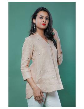 Pure linen box pleat tunic designed with shirt collar : LT120-LT120Bl-M-sm