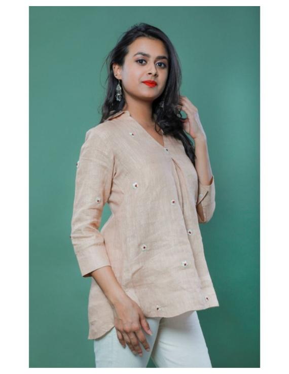 Pure linen box pleat tunic designed with shirt collar : LT120-LT120Bl-M