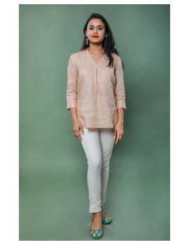 Pure linen box pleat tunic designed with shirt collar : LT120-Vintage rose-XL-2-sm