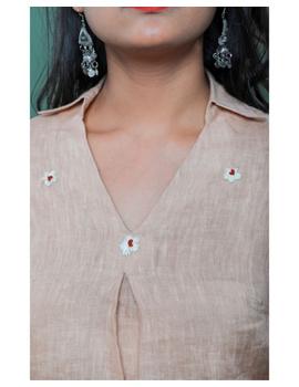 Pure linen box pleat tunic designed with shirt collar : LT120-Vintage rose-XXL-1-sm