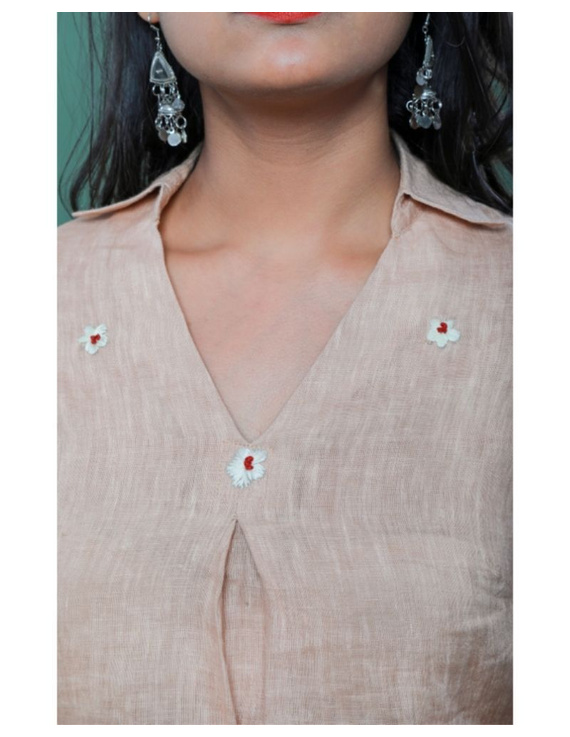 Pure linen box pleat tunic designed with shirt collar : LT120-Vintage rose-XXL-1