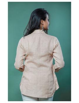 Pure linen box pleat tunic designed with shirt collar : LT120-Vintage rose-XXL-3-sm
