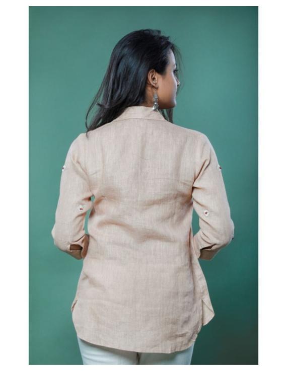 Pure linen box pleat tunic designed with shirt collar : LT120-Vintage rose-XXL-3