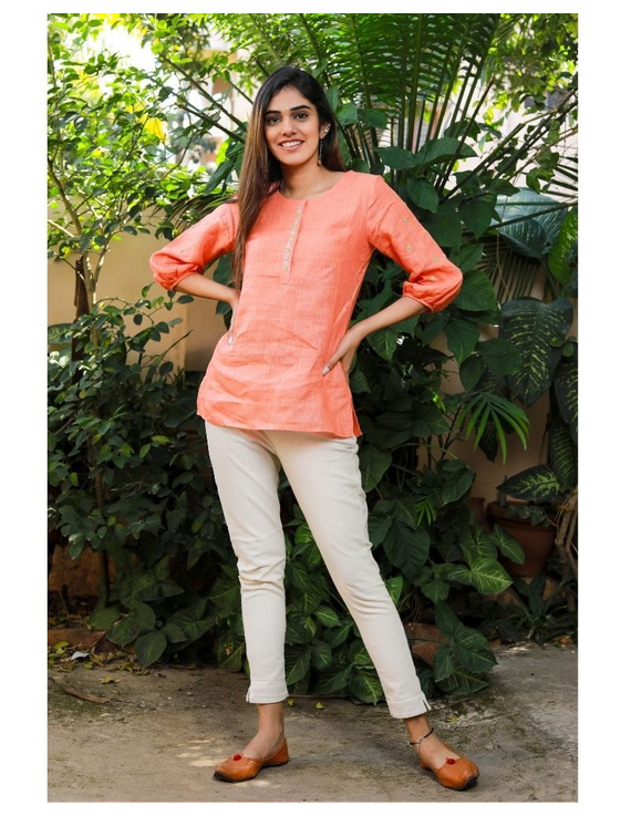 Pure linen tunic with hand embroidery : LT130-Peach-L-2