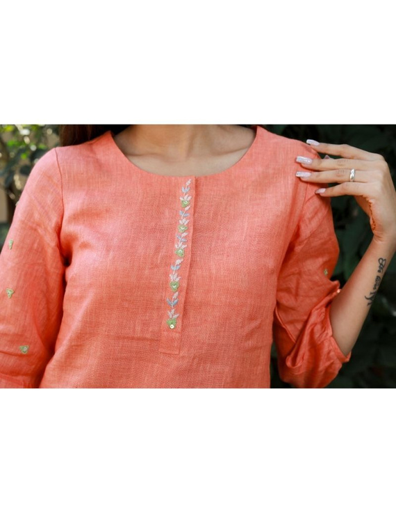 Pure linen tunic with hand embroidery : LT130-Peach-L-3
