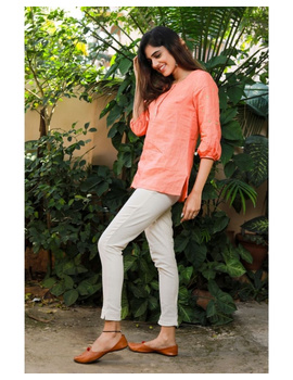 Pure linen tunic with hand embroidery : LT130-Peach-L-4-sm