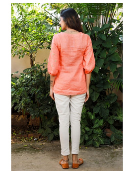 Pure linen tunic with hand embroidery : LT130-Peach-L-5-sm