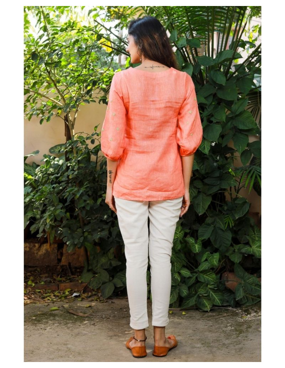 Pure linen tunic with hand embroidery : LT130-Peach-L-5